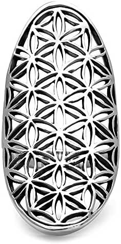 925 Sterling Silver Open Filigree Flower of Life Symbol 4 CM Long Large Band Ring – Nickel Free
